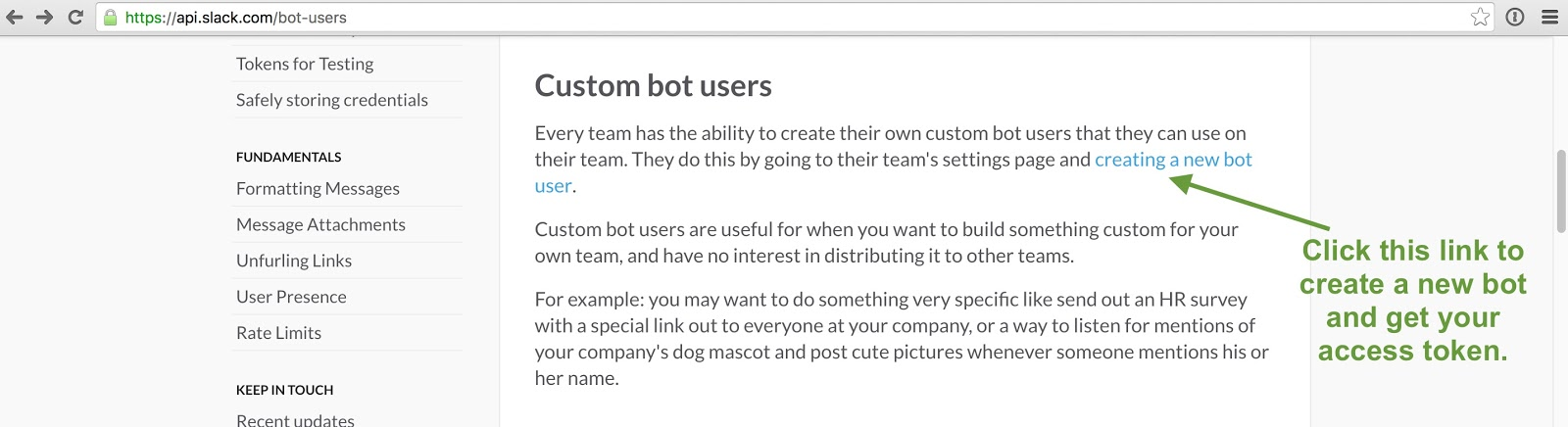 Custom bot users webpage.