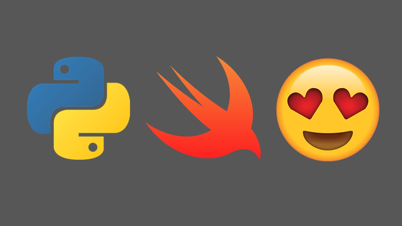 Python and Swift logos with the heart eyes emoji.
