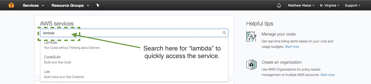 Search for lambda in the dashboard text box.