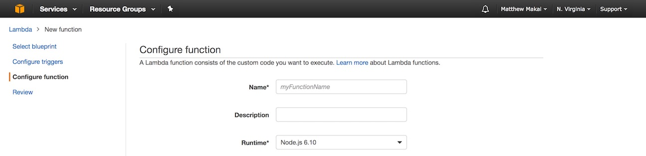 The Lambda configuration screen.