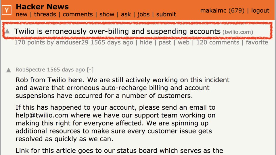 Hacker News post on Twilio not billing correctly.