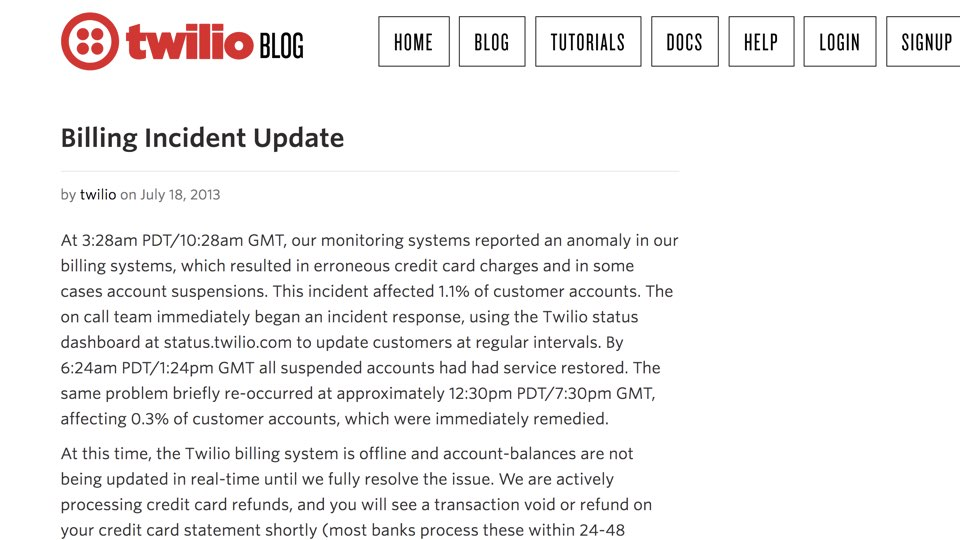 Billing incident update blog post.
