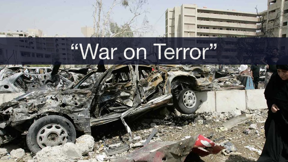 Text that reads 'War on Terror' with an exploded vehicle in the background.