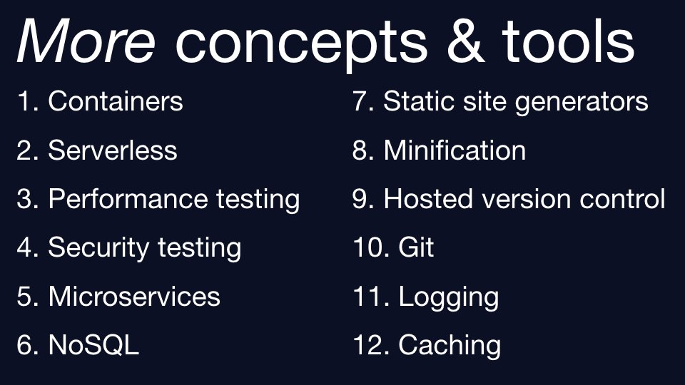 A list of more concepts and tools for continuous delivery.