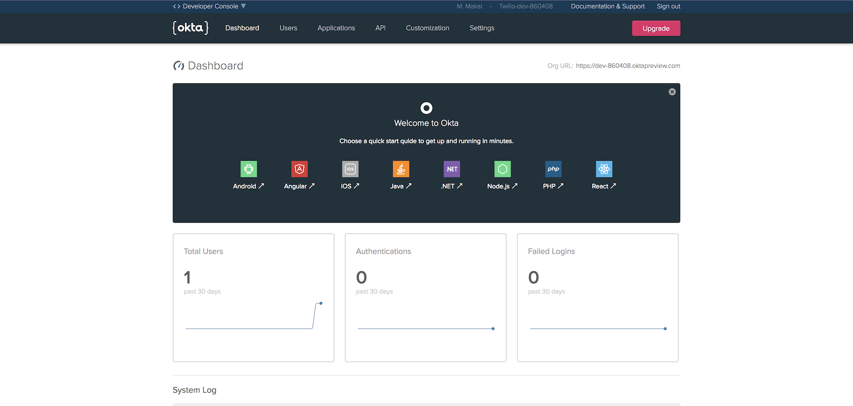 Okta developer dashboard.