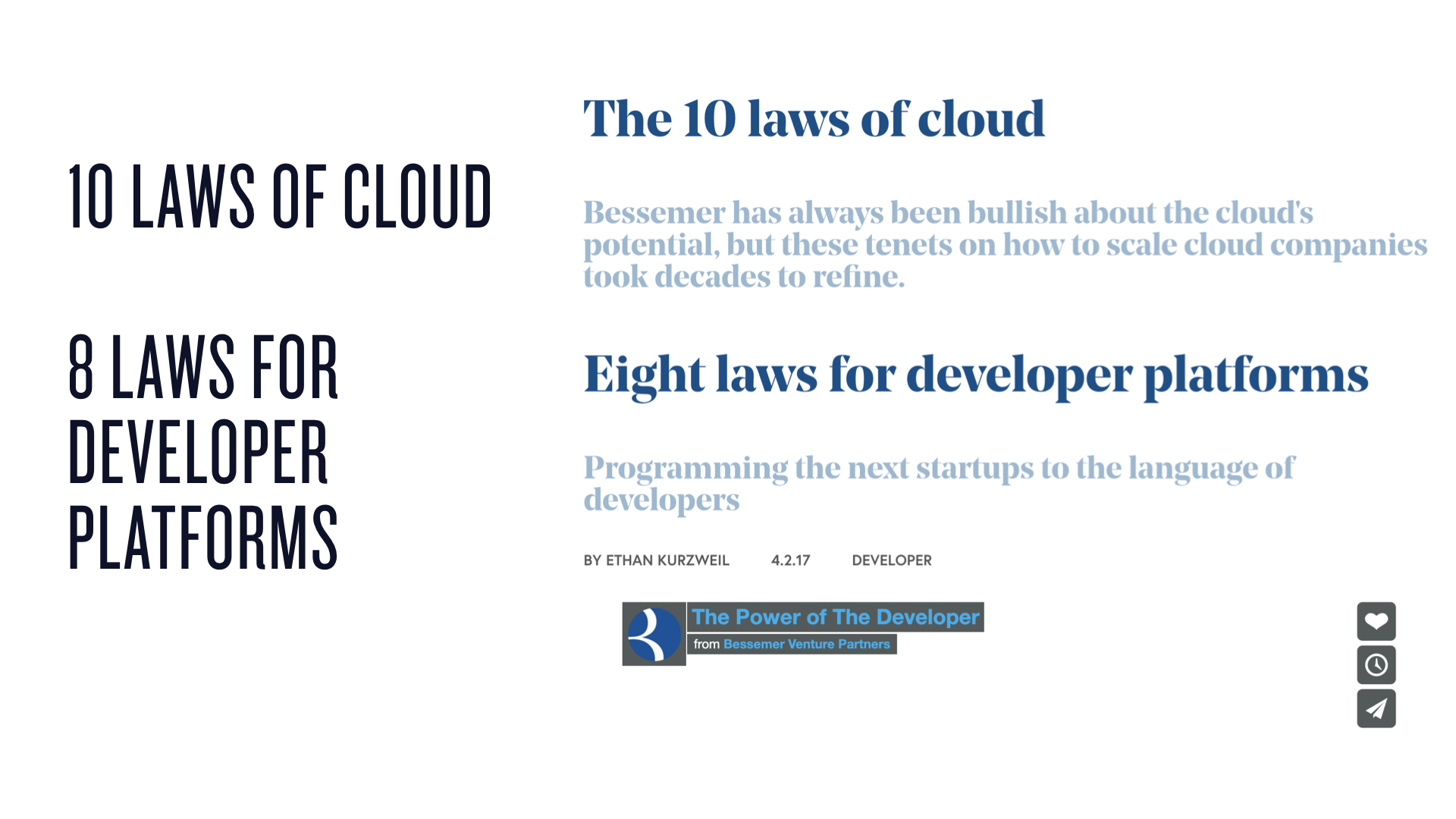 Bessemer's 10 Laws of Cloud Computing and developer platform laws are fantastic foundational reading.