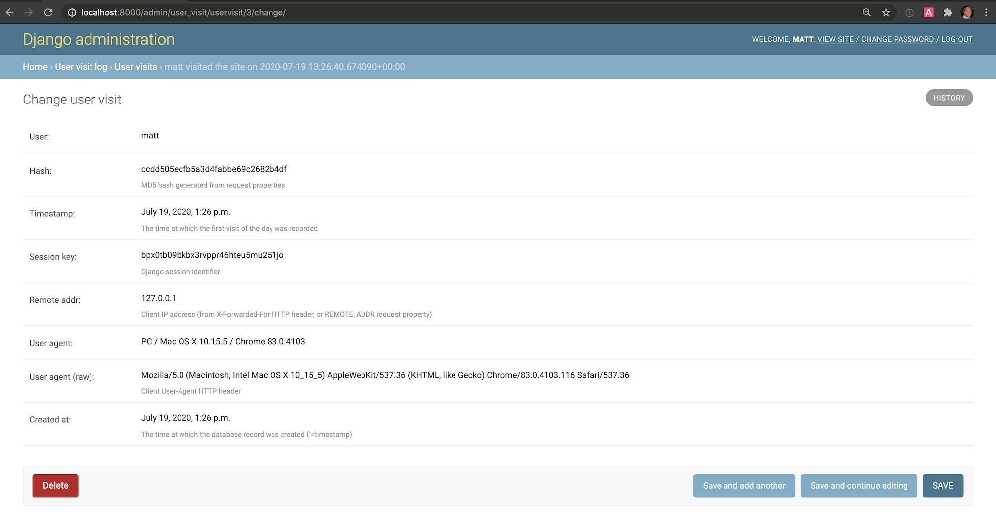 página de detalles de django-user-visit en el administrador de Django.
