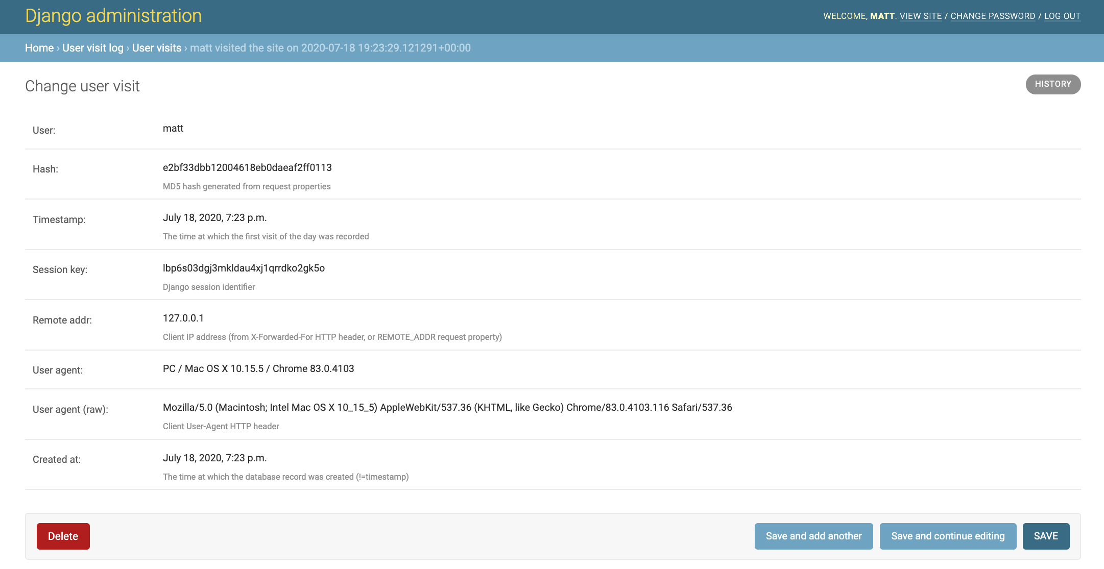 Django Admin with django-user-visit information