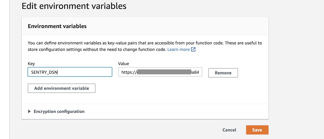 Add the environment variable in AWS Lambda.