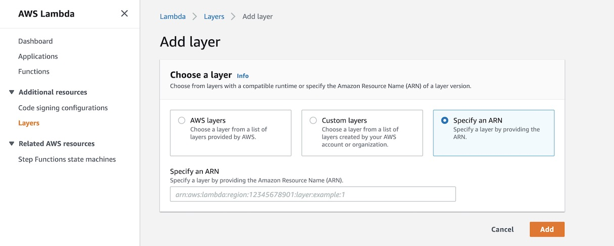 Select Specify ARN in the Add Layer screen.