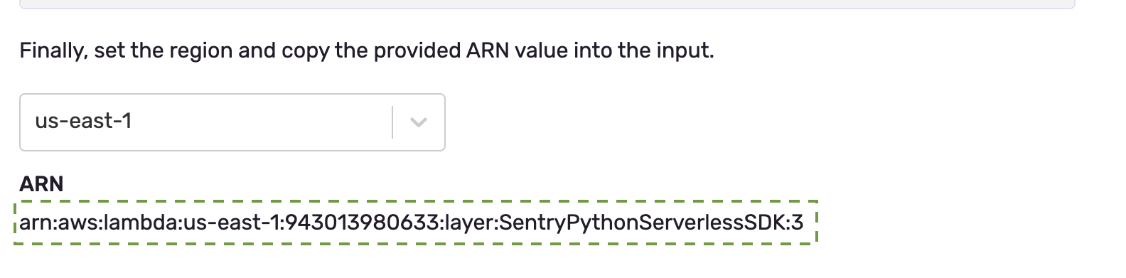 Select the AWS for the ARN string.