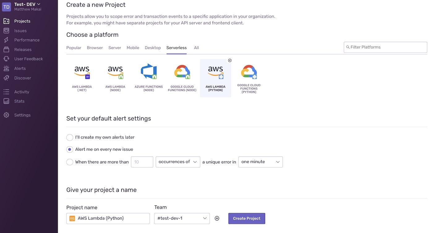 Choose AWS Lambda (Python) under the platform options.