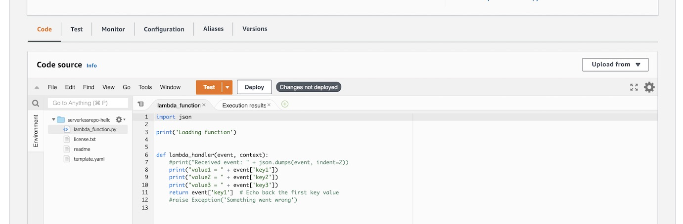 Code editor within AWS Lambda.