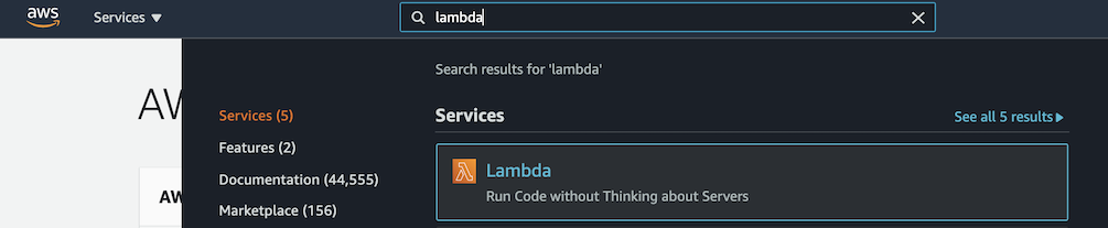 Use the search bar to find AWS Lambda.