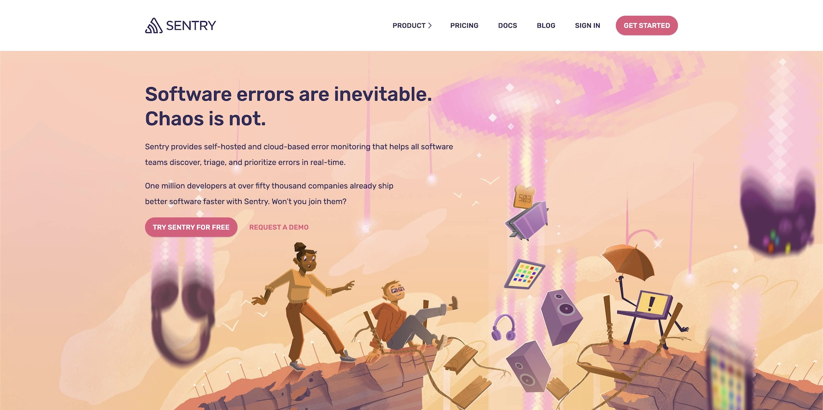 Sentry.io homepage where you can sign up for a self-ruling account.