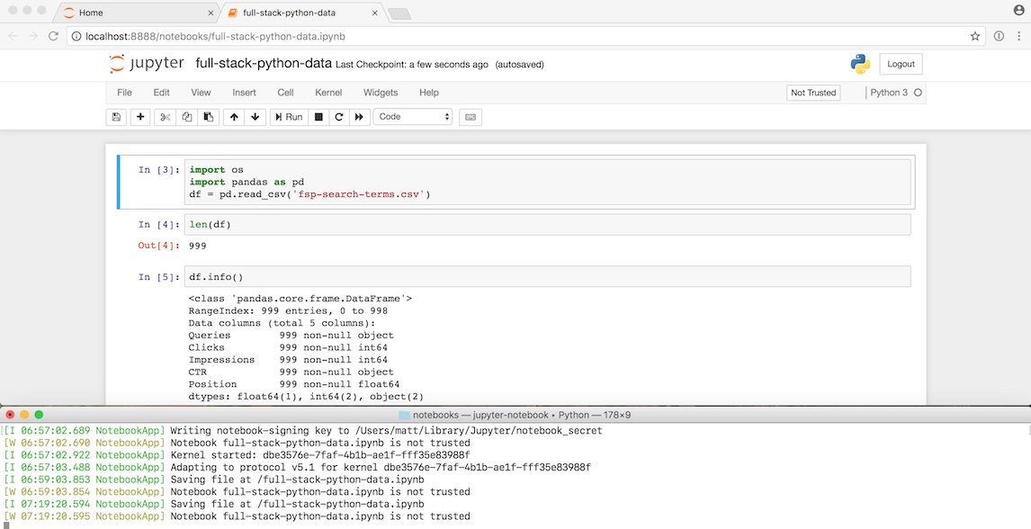 Screenshot of Jupyter Notebook running in the browser and server in terminal.