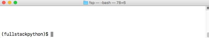 My macOS terminal window showing the bash shell with an active virtualenv.